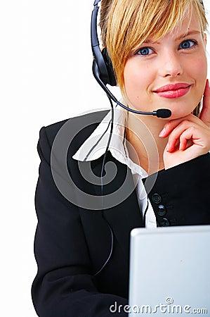 Operador bonito da linha de apoio a o cliente.