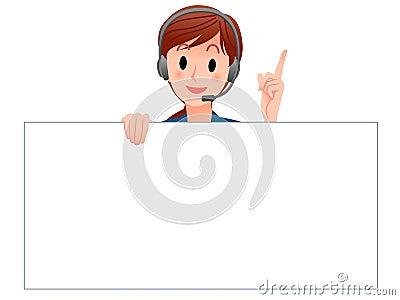 Operador del servicio de atención al cliente que lleva a cabo a una tarjeta en blanco