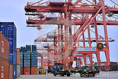 Operation in container dock, Xiamen, China Editorial Stock Photo
