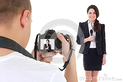 Operator with camera and female reporter with microphone isolate