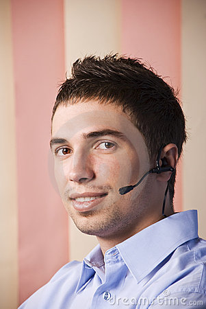 Operator man with headset