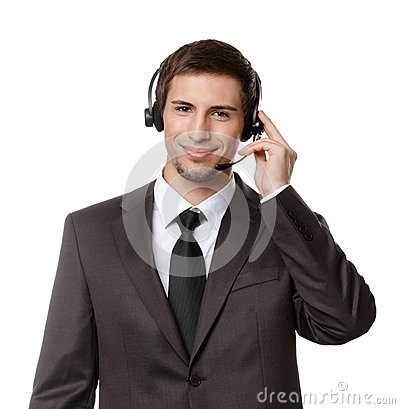 Operator puts earphones with mic