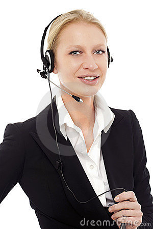 Operator smiling with headphone and microphone