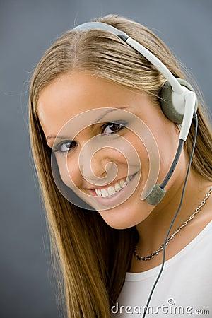 Operator talking on headset