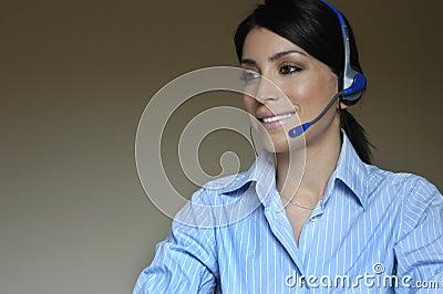 Operator woman in phone