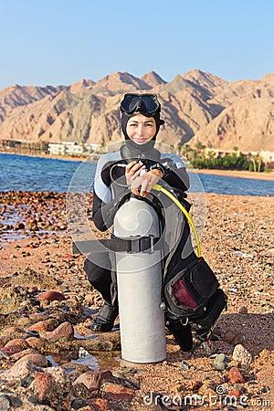 Operatore subacqueo della donna