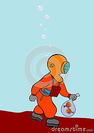 Operatore subacqueo sul prowl