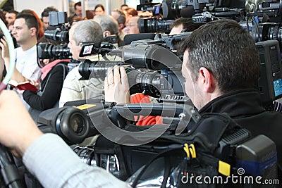 Crowd of cameramen Editorial Stock Photo