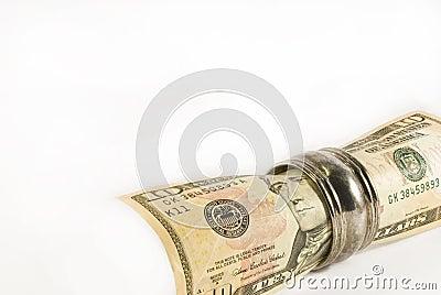 Opgerolde de dollarrekening van de tien V.S.