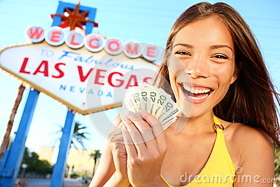 Opgewekte het Meisje van Vegas van Las