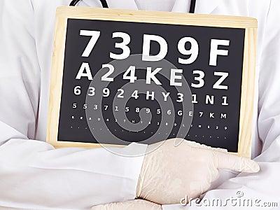 Ophthalmologist holding blackboard with eyesight test