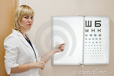 Ophthalmologist testing  eyesight
