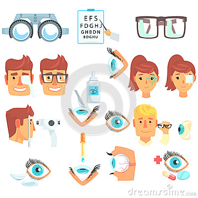 Ophthalmology Problem And Medical Treatment Infographic Cartoon Poster For Ophthalmologist Cabinet Vector Illustration