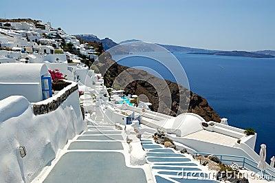 Opinião de Oia do console de Santorini