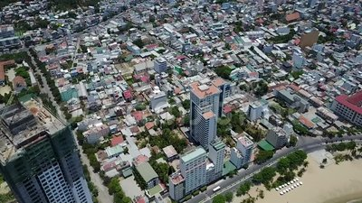 Opinião do ar da construção da cidade do trang de Nha video estoque