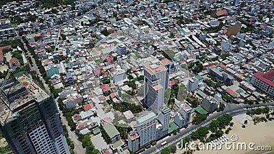 Opinión del aire del edificio de la ciudad del trang de Nha almacen de video