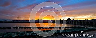 Opinión del panorama de la puesta del sol