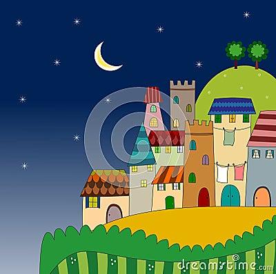 Opinión de la noche de la ciudad en la colina