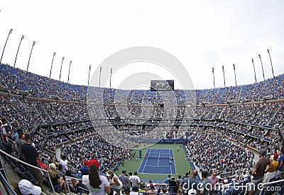 Opinión regional Arthur Ashe Stadium en Billie Jean King National Tennis Center durante el US Open 2013 Foto de archivo editorial