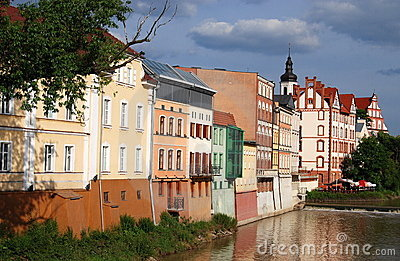 Opole, Poland: Houses on River Oder Editorial Photography