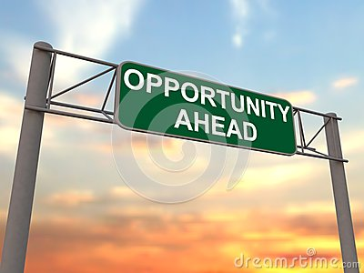 Opportunity ahead - freeway sign