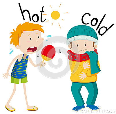 Free Opposite Adjectives Hot And Cold Royalty Free Stock Photography - 60796987