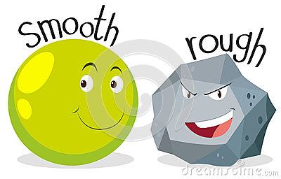 Opposite adjectives smooth and rough Vector Illustration