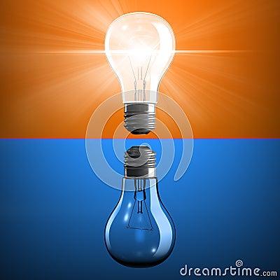 Opposite light bulbs