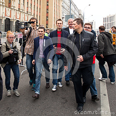 Opposition leaders Ilya Yashin and Alexei Navalny Editorial Photo
