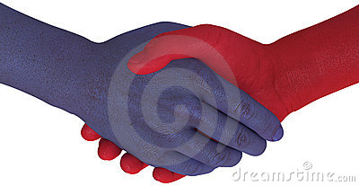 Opposition sides shake hands agree compromise