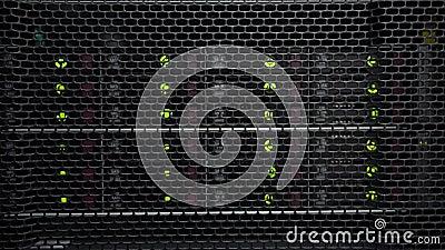 Opslagrekken met vele harde aandrijving in ruimte van datacentrum HDD SATA stock videobeelden