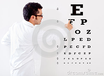 Optemetrist making a vision test