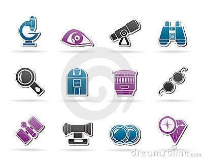 Optic and lens equipment icons