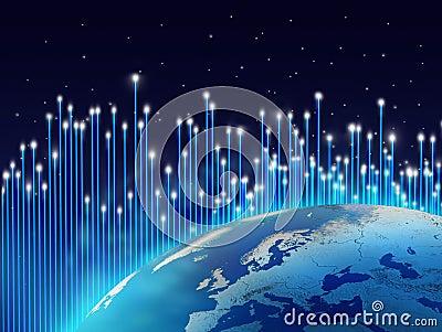 Optical fibres aurora borealis
