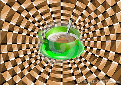 Optical illusion with a green cup