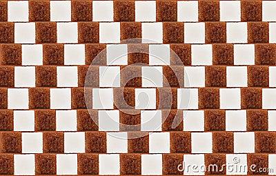 Optical illusion with lumps of white/cane sugar
