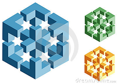 Optical illusions of impossible objects