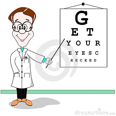 Optician eye test cartoon
