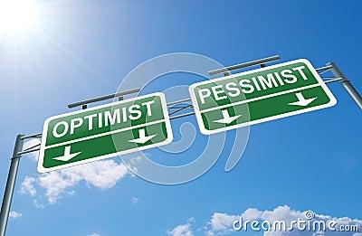 Optimist or pessimist concept.