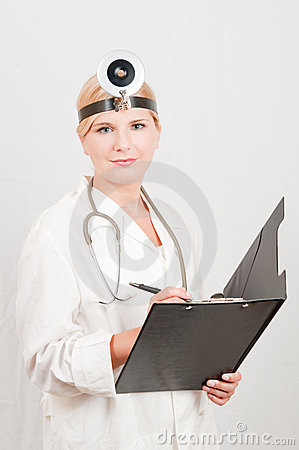 Optimistic female doctor with folder