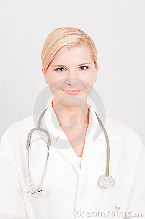Optimistic female doctor with stethoscope