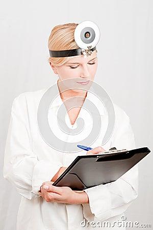 Optimistic female scientist with folder