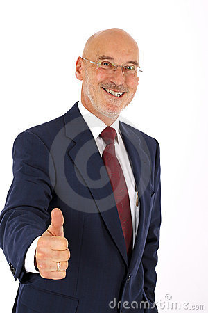 Optimistic smiling senior businessman