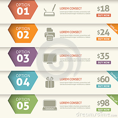 Free Option And Price Infographic Stock Photography - 34207592
