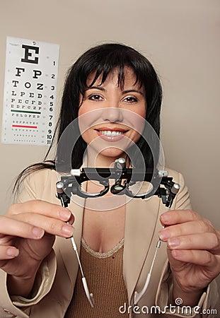Optometrist eyesight checkup