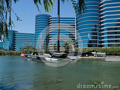 Oracle sponsored America Cup boat Redwood City Editorial Stock Image