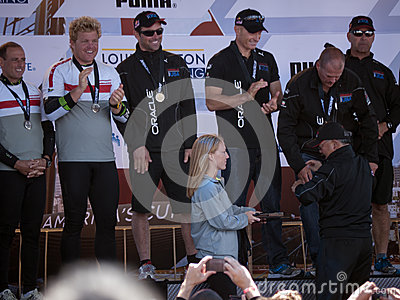 Oracle team gets medals from Mayor Ed Lee Editorial Stock Image