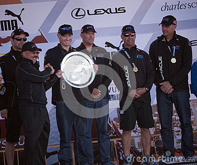 Oracle team with San Francisco Mayor Ed Lee Editorial Stock Image
