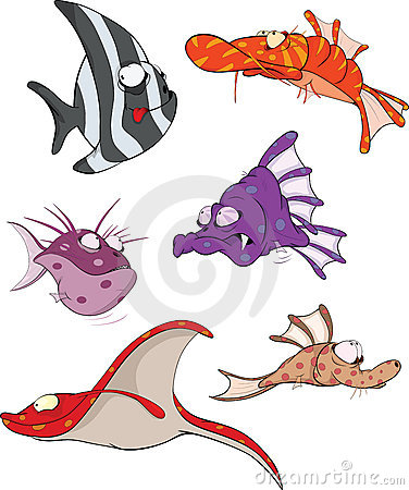 Сoral small fishes. Cartoon