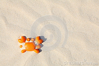 Toy crab in sand